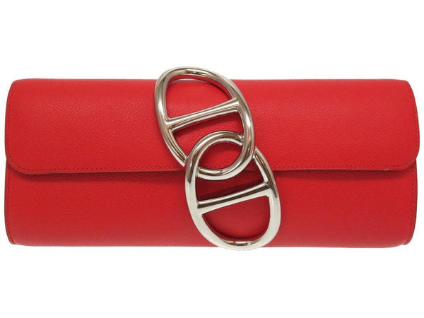 Buy & Consign Authentic Hermes Egee Clutch Rouge Red at The Plush Posh