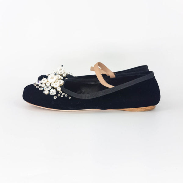Buy & Consign Authentic Miu Miu Ballet Flats with Pearl & Glitter Gems 38 at The Plush Posh