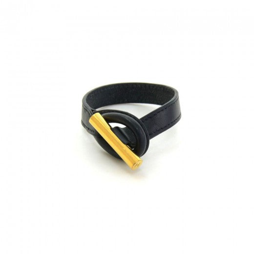 Buy & Consign Authentic Hermes Black Calfskin Leather x Yellow Gold-tone Toggle Bracelet Size M at The Plush Posh
