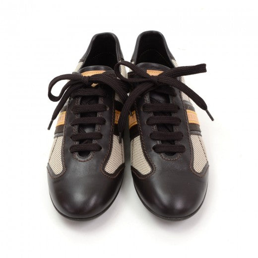 Louis Vuitton Dark Brown Leather x Canvas Sneakers