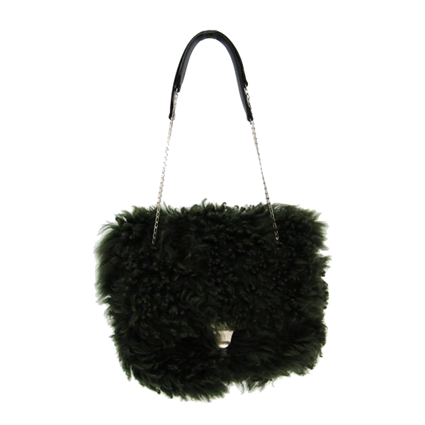 Buy & Consign Authentic Celine Dark Green Shearling Small Chain Bag at The Plush Posh