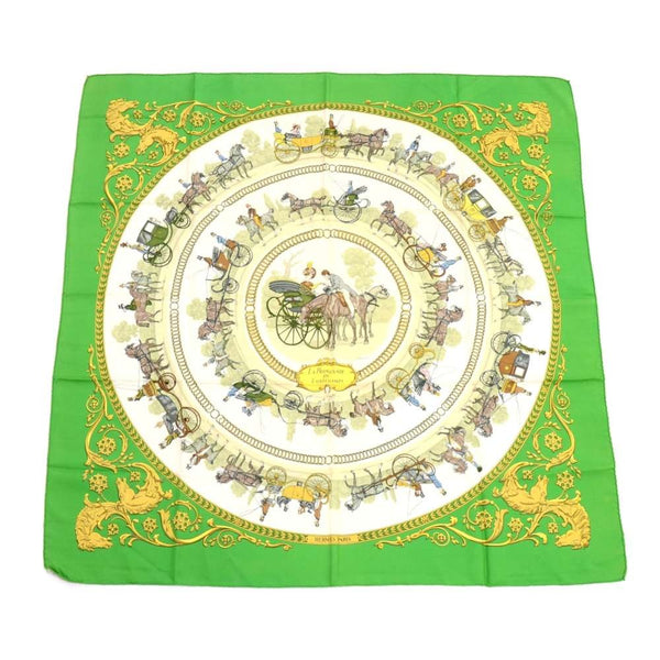 Buy & Consign Authentic Hermes La Promenade De Longchamps Silk Scarf Green at The Plush Posh
