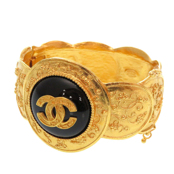 Buy & Consign Authentic Chanel Vintage Black Stone Gold Coco Mark Bangle at The Plush Posh