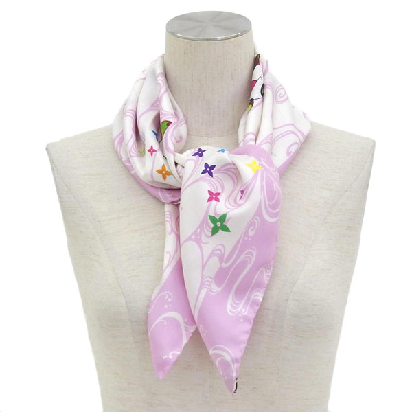 Buy & Consign Authentic Louis Vuitton Takashi Murakami collaboration Panda Onion Head Flower Hatman silk scarf Pink at The Plush Posh