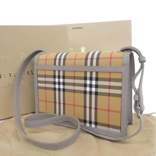 Buy & Consign Authentic Burberry Grainy Calfskin House Check Small Macken Crossbody Bag Taupe Brown at The Plush Posh