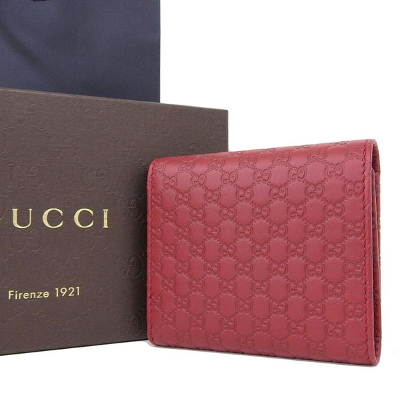 Buy & Consign Authentic Gucci Guccissima Micro Tri-Fold Wallet Red at The Plush Posh