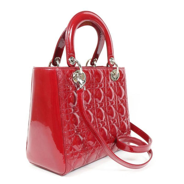 Buy & Consign Authentic Dior Patent Cannage Medium Lady Dior Red at The Plush Posh