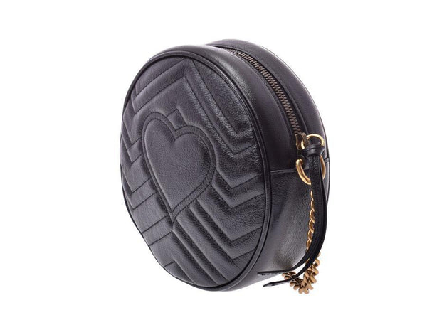 Buy & Consign Authentic Gucci Calfskin Matelasse Mini GG Marmont Round Shoulder Bag Black at The Plush Posh