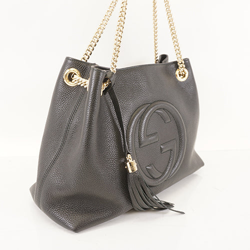 Gucci Pebbled Calfskin Soho Chain Shoulder Bag Black