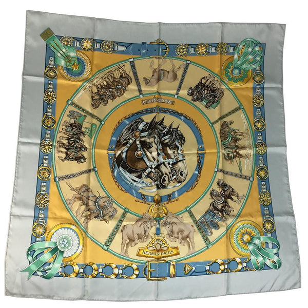 Buy & Consign Authentic Hermes Carre90 CHEVAUX DE TRAIT Scarf Light Blue at The Plush Posh