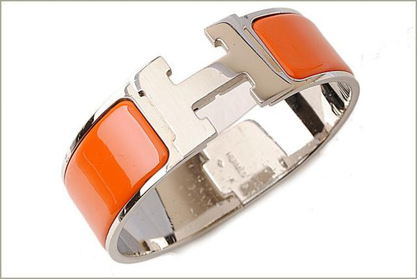 Buy & Consign Authentic Hermes Enamel Wide Clic Clac H Bracelet GM Orange at The Plush Posh