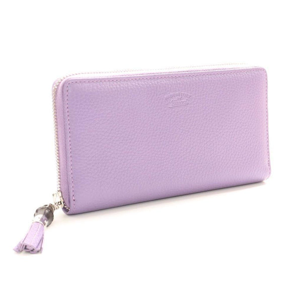 Buy & Consign Authentic Gucci Guccissima Calf Skin Leather Bamboo Tassel Zip Around Wallet Light Purple at The Plush Posh