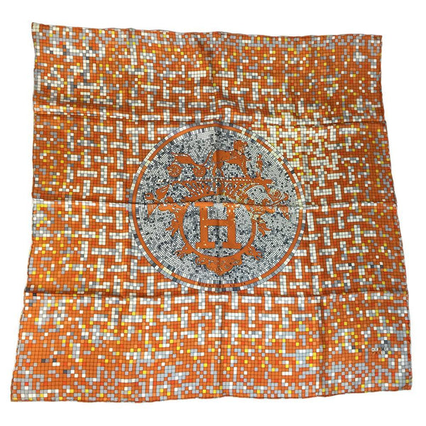Buy & Consign Authentic Hermes Mosaique Au 24 Silk Scarf Orange at The Plush Posh