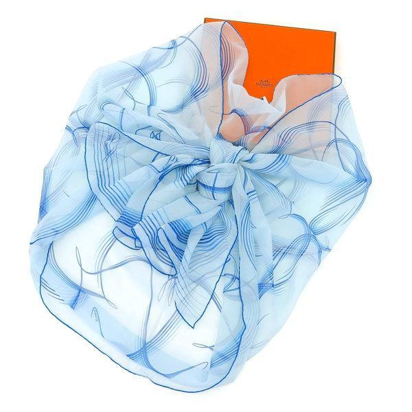 Buy & Consign Authentic HERMES 24 Faubourg Scarf Blue at The Plush Posh