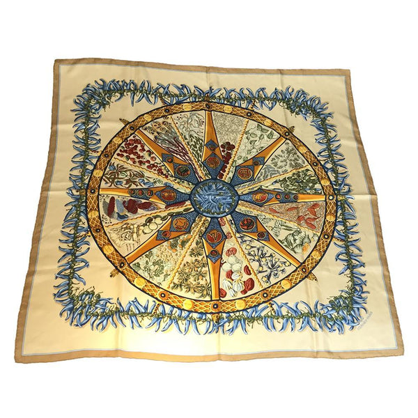 Buy & Consign Authentic Hermes AUXPAYS DES ESPICES Silk Scarf 90 Multi-color,Orange at The Plush Posh