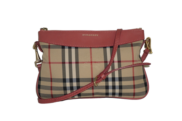 Burberry Pink Leather-Trimmed House Check Shoulder Bag