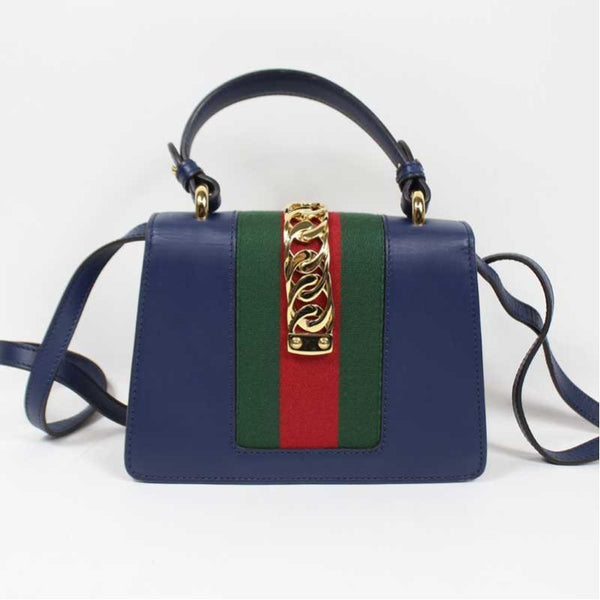 Buy & Consign Authentic Gucci Calfskin Small Sylvie Shoulder Bag Blue at The Plush Posh