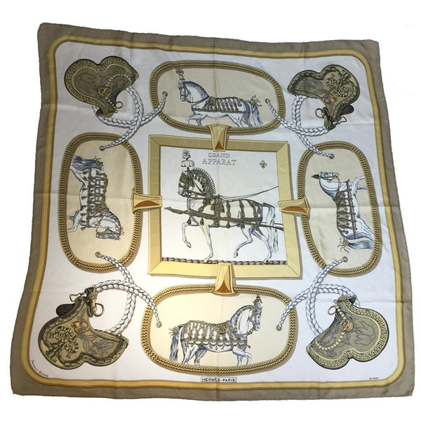 Buy & Consign Authentic Hermes GRAND APPARAT Silk Scarf 90 Beige at The Plush Posh