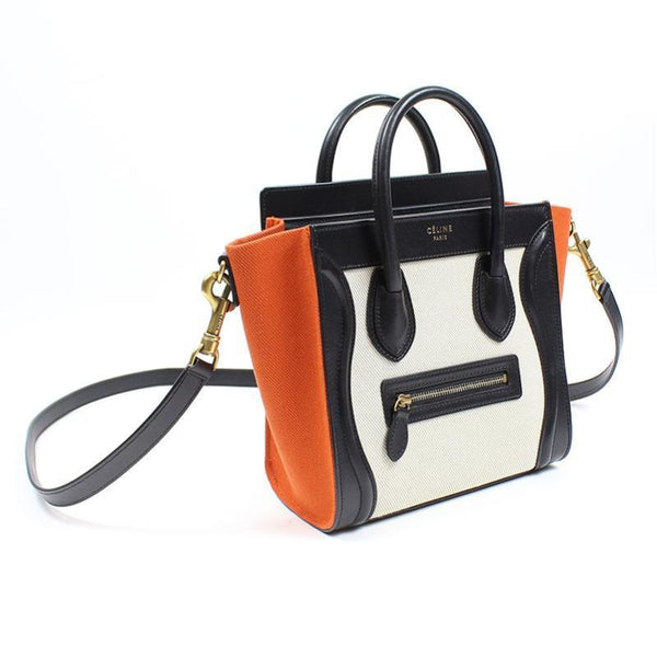 Buy & Consign Authentic Celine Tri Color Leather Nano Luggage Tote at The Plush Posh