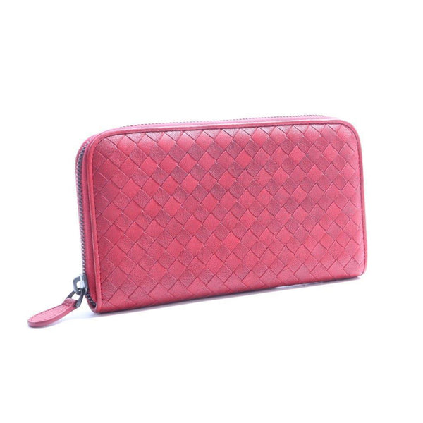 Buy & Consign Authentic Bottega Veneta Intrecciato Zip Around Wallet Red at The Plush Posh