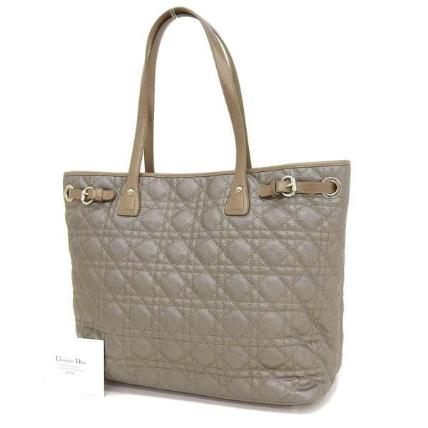 Buy & Consign Authentic Christian Dior Coated Canvas Cannage Print Lady Dior Tote Bronze at The Plush Posh