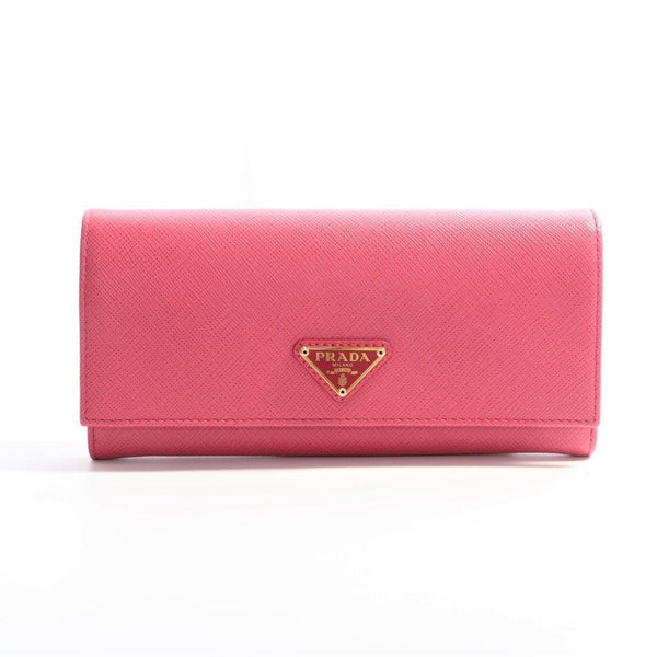 Buy & Consign Authentic Prada Saffianol Continental Flap Wallet Peonia Pink at The Plush Posh