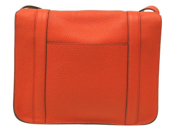 Buy & Consign Authentic HERMES Taurillon Clemence Steve Caporal Messenger Etoupe at The Plush Posh