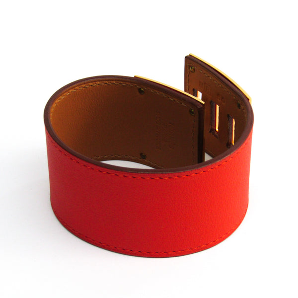 Buy & Consign Authentic Hermes Kelly Dog Leather Bangle Coral Red at The Plush Posh