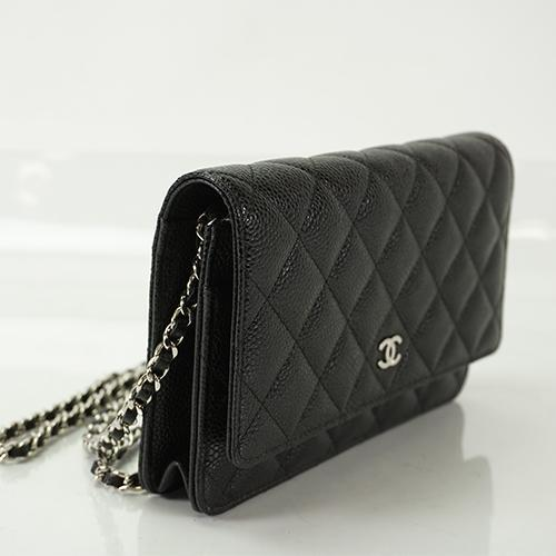 Buy & Consign Authentic Chanel Caviar Skin Chain Wallet Matelasse Caviar Skin black silver at The Plush Posh