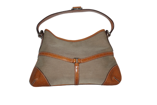 Gucci Taupe Canvas Blue / White Stripe Tan Leather Trim Hobo Bag