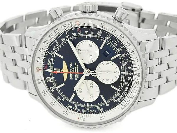 Buy & Consign Authentic Silver Breitling Navi Timer with Black Dial at The Plush Posh