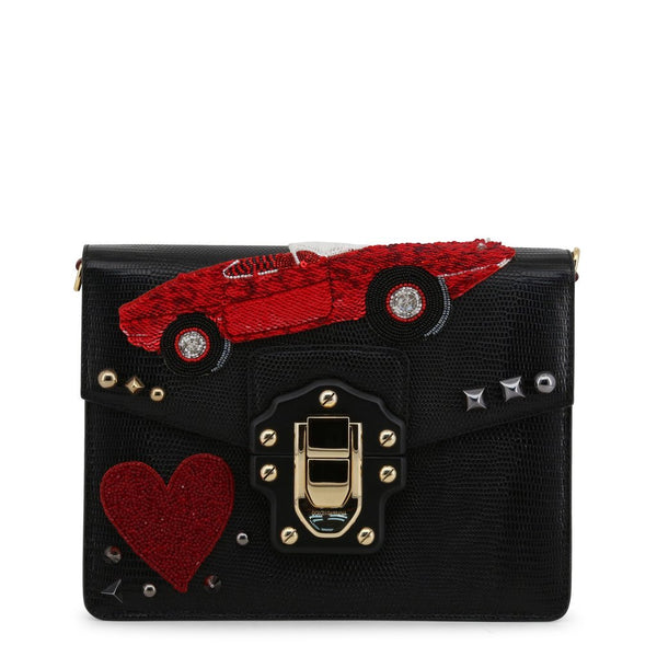 Buy & Consign Authentic Dolce & Gabbana Calfskin Lucia Amore Heart Chain Shoulder Bag Black at The Plush Posh