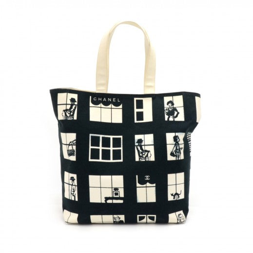 Buy & Consign Authentic Chanel Coco Window Black & White Canvas Tote Bag at The Plush Posh