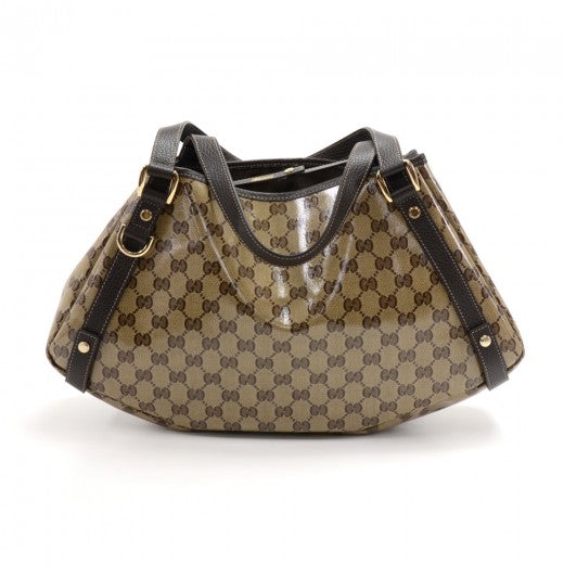 Buy & Consign Authentic Gucci Beige GG Monogram Crystal Coated Canvas & Brown Leather Shoulder Bag at The Plush Posh