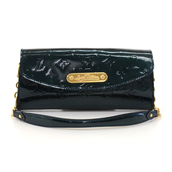 Buy & Consign Authentic Louis Vuitton Sunset Boulevard Dark Green Vernis Leather Wallet Shoulder Bag at The Plush Posh