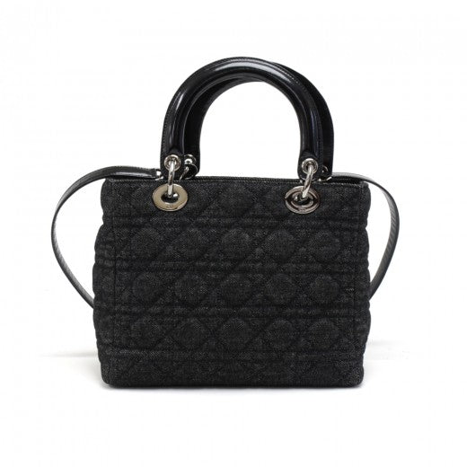 Buy & Consign Authentic Christian Dior Lady Dior Medium Black Quilted Cannage Denim Handbag + Strap at The Plush Posh