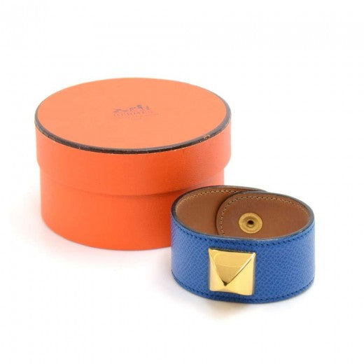 Buy & Consign Authentic Hermes Medor Blue Leather x Gold Tone Stud Cuff Bracelet at The Plush Posh