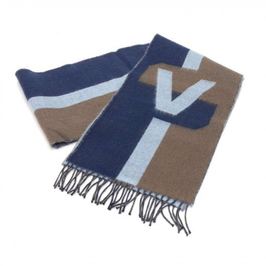 Louis Vuitton Striped Tricolor Navy Wool & Cashmere Blend Scarf
