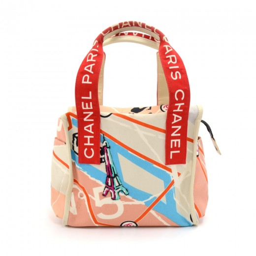 Buy & Consign Authentic Chanel Paris Map Sequin Eiffel Tower Printed Canvas x White Leather  Tote Bag-Rare at The Plush Posh