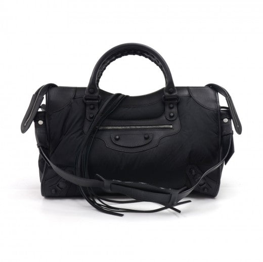 Balenciaga Black Nylon & Leather Classic Motorcycle City Shoulder Bag