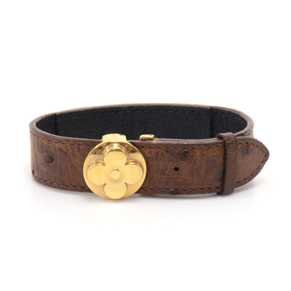 Buy & Consign Authentic Louis Vuitton Good Luck Brown Ostrich Leather x Gold tone Cuff Bracelet at The Plush Posh
