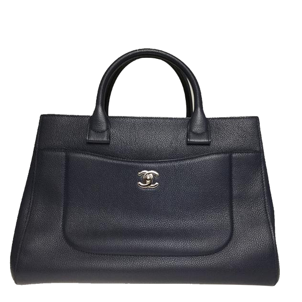 Buy & Consign Authentic Chanel Navy Blue Leather Large Cerf Executive Tote at The Plush Posh