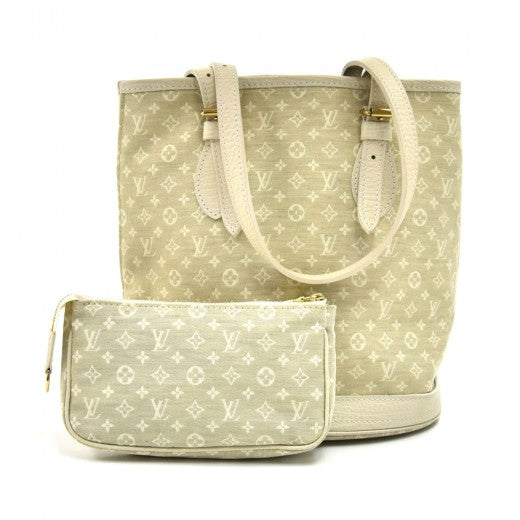 Louis Vuitton Bucket PM White Dune Mini Lin Monogram Canvas Shoulder Bag