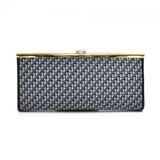 Buy & Consign Authentic Christian Dior Logo Monogram Navy Jacquard Fabric Clutch Bag at The Plush Posh