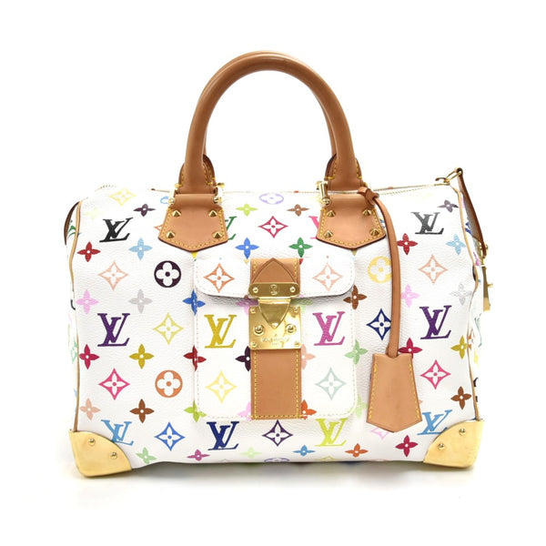 Buy & Consign Authentic Louis Vuitton Speedy 30 White Multicolor Monogram Canvas City Handbag at The Plush Posh