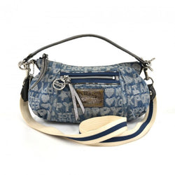 Coach Poppy Word Block Denim & Silver Small Hobo Shoulder Bag
