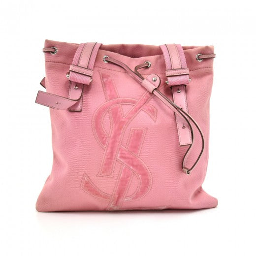 Saint Laurent Kahala Pink Canvas & Velvet YSL Logo Tote Bag