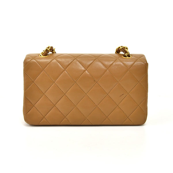 "Buy & Consign Authentic Chanel 7.5"" Flap Beige Quilted Lambskin Leather Classic Shoulder Mini Bag at The Plush Posh"
