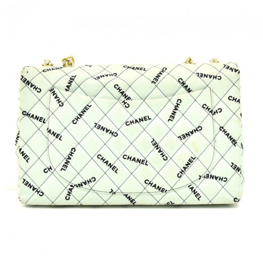 Buy & Consign Authentic Chanel Light Mint Green Maxi Jumbo Logo Pattern Quilted Cotton Shoulder Flap Bag at The Plush Posh