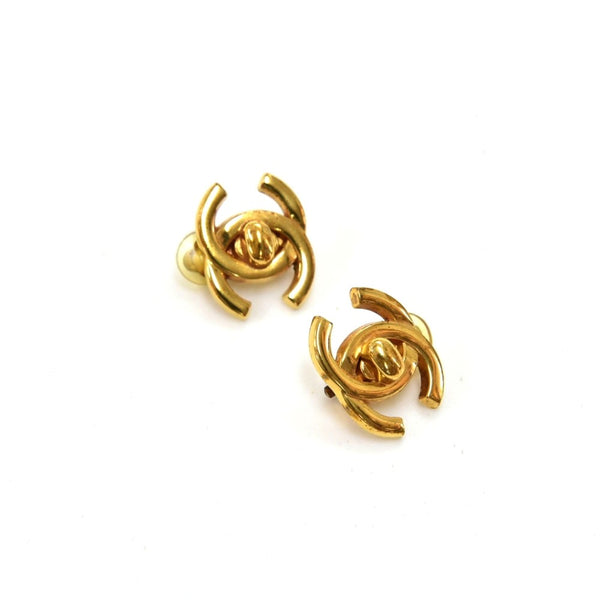 Buy & Consign Authentic Chanel Gold Tone CC Logo Twist-Lock Earrings at The Plush Posh